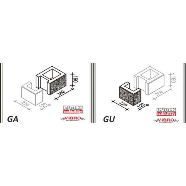 """Ogrodzenie Łupane Gorc GL22 - Element słupka GA+GU """"mały"""""""