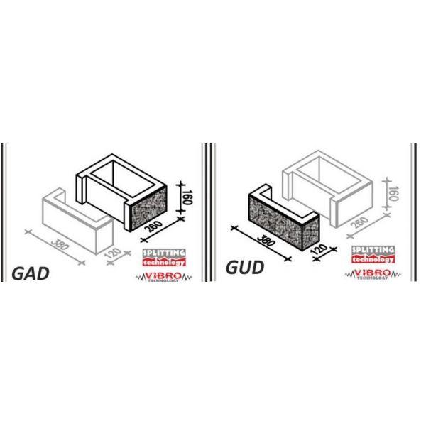 """Element słupka GAD+GUD """"duży"""" - Ogrodzenie Łupane Gorc GL38"""