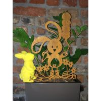 Zajączek Wielkanocny z balonem z Cortenu