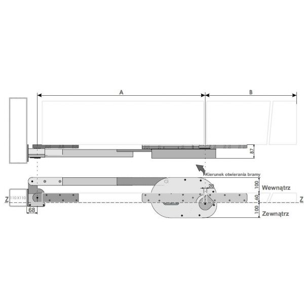 Brama harmonijkowa -urządzenie do równomiernego otwierania skrzydeł gat-40